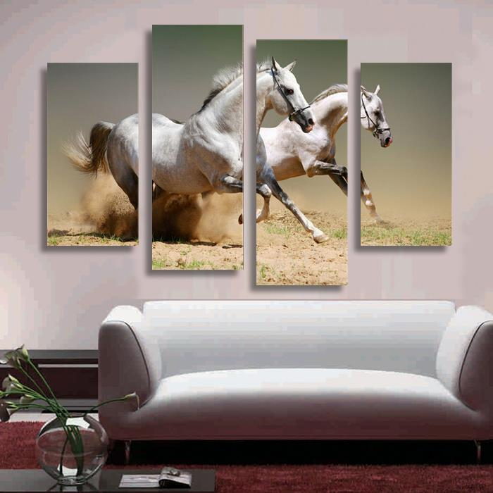 Wall Art Horses aliexpress : buy hot sell 4 panel running white horse large hd