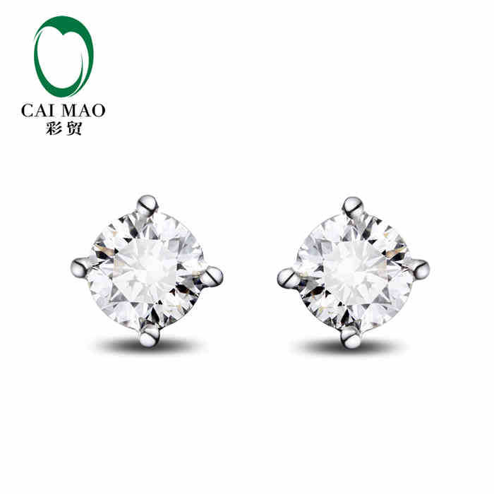 CaiMao 18KT/750 White Gold 0.50 ct Full Cut Diamond stud Earrings Jewelry Gemstone