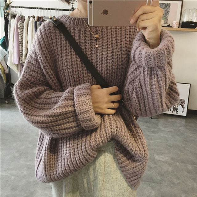New Autumn Winter Sweet Style Aran Weight Solid Color Pullover Female Loose Casual Knitted Sweater Jumper Coat Thick Thread