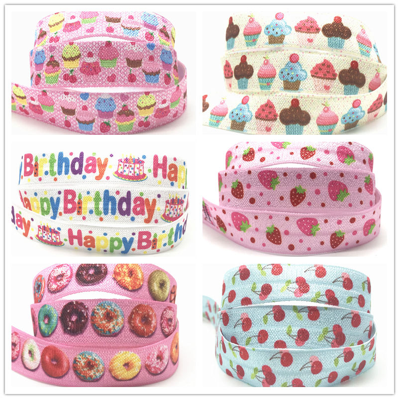 Ice Cream Cake Strawberry Cherry Print Fold Over Elastic Ribbon 16mm Donut FOE Webbing For Girls DIY Headwear Birthday Party 10y