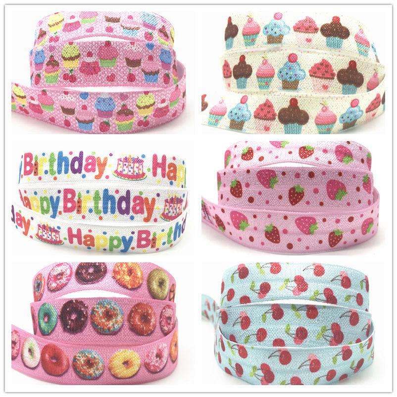 Ice Cream Cake Strawberry Cherry Print Fold Over Elastic Ribbon 16mm Donut FOE Webbing For Girls DIY Headwear Birthday Party 10y