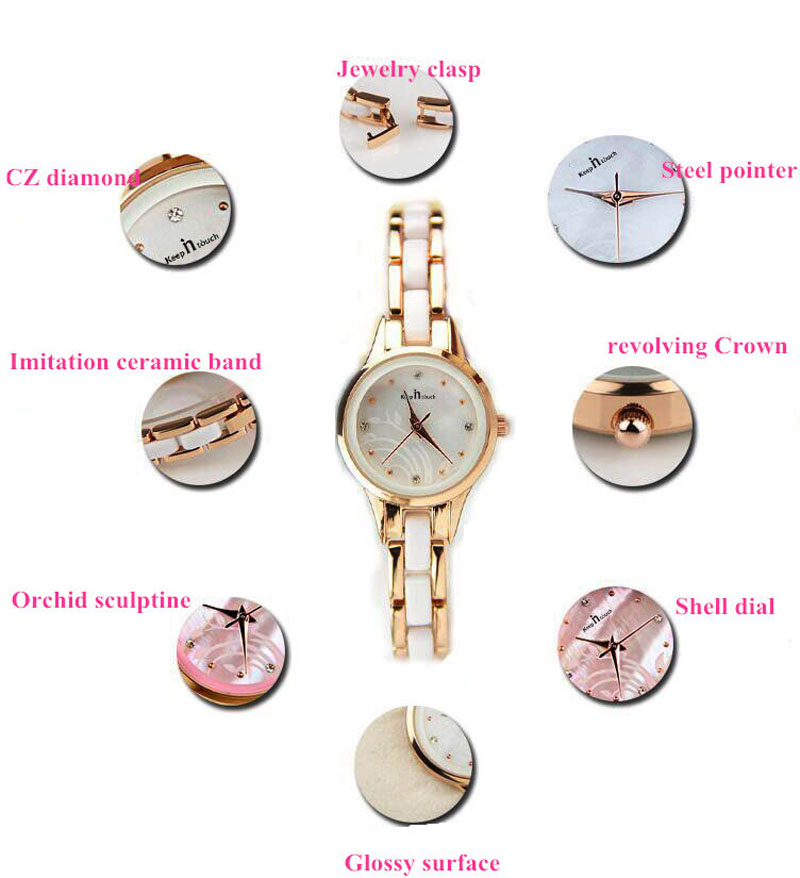 Estudantes Das Senhoras Das Mulheres Relógio de Ouro Rosa moda Imitação de Cerâmica  Relógio de Diamantes Resina Roxo Relojes Mujer 2019 Com Caixa de ... 087eef0d52