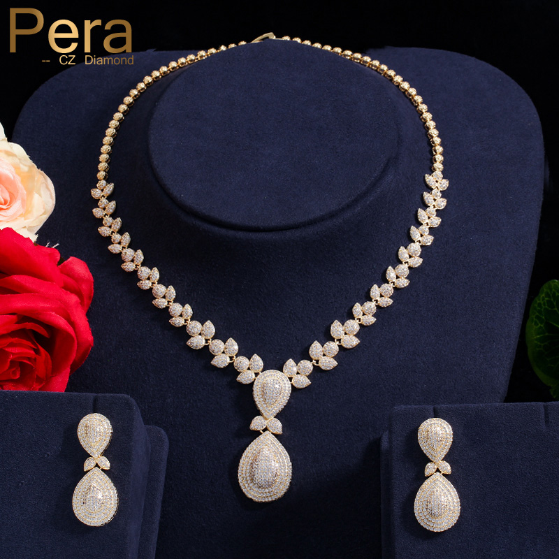 Pera Elegant Dubai Women Pear Drop Jewelry Sets Bridal Cubic Zirconia Pendant Necklace And Earrings Set For Wedding Gift J221 pera newest big vintage hollow out design yellow cubic zircon round drop pendant necklace and earrings set for luxury women j199