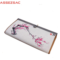 Assez Sac Wallet Chinese Style Wallet Women National Long Cotton Fabric Wallets Landscape Girls Like Hand