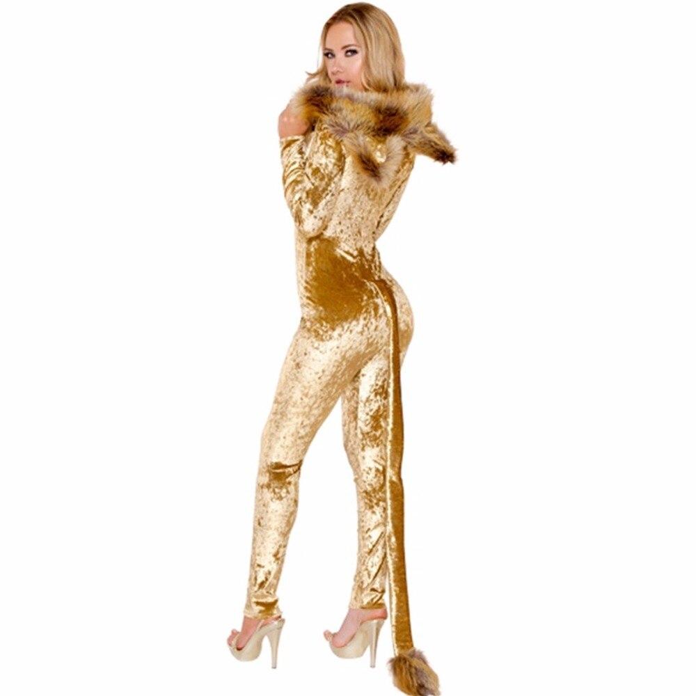 Deluxe Lion Costume Halloween animal cosplay costume Jumpsuits Set women adult cos animal costume Body Suit