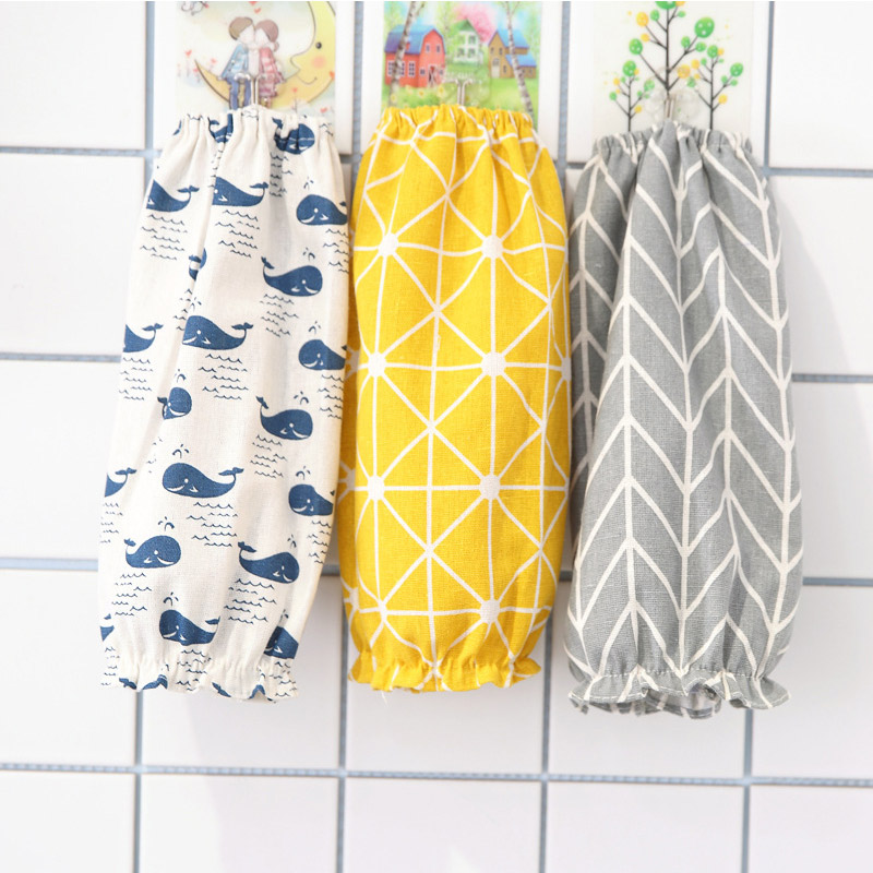 1 Pair Cotton Linen Office Antifouling Sleeve Home Cleaning Supplies Kitchen Cuff Sleeves Cooking Working Tools Long Sleeve