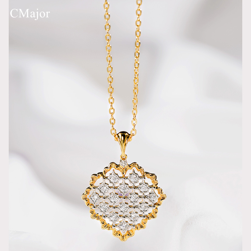 Cmajor 925 Silver Jewelry Shinning Cubic Zircon Necklaces Vintage Palace Elegant Pendant Neclaces For Women недорого