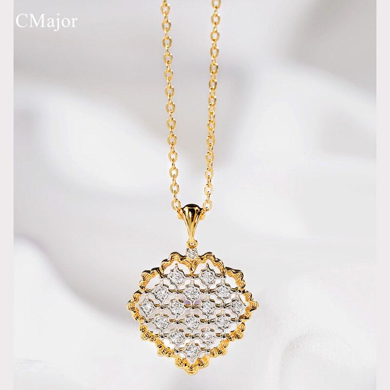 Cmajor 925 bijoux en argent brillant cubique Zircon colliers Vintage palais élégant pendentif collier pour les femmes