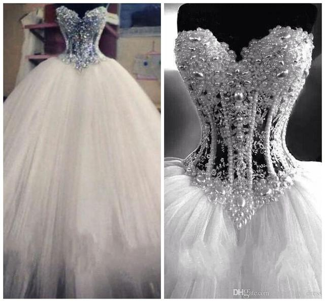 Luxury Bling Vestido De Noiva Corset Bodice Sheer Ball Gown Wedding Dresses Beads Rhinestones Crystal Pearl