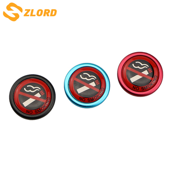 Zlord Stainless Steel Car Styling No Smoking Logo Trim Stickers Sar Stickers No Smoking Metal Sign Car Sticker image
