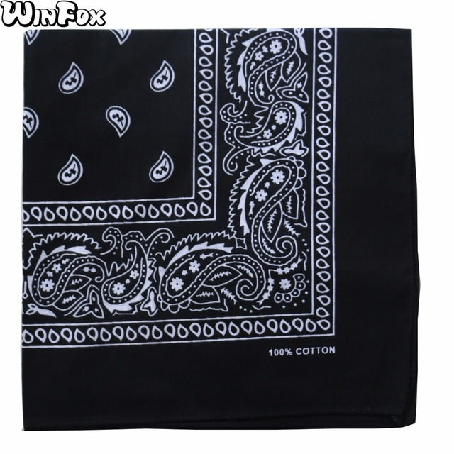 ec4f1c81ff5 Winfox 2018 New Hip Hop Punk Cotton Black White Navy Red Paisley Bandana  Headwear Scarf For Mens Womens