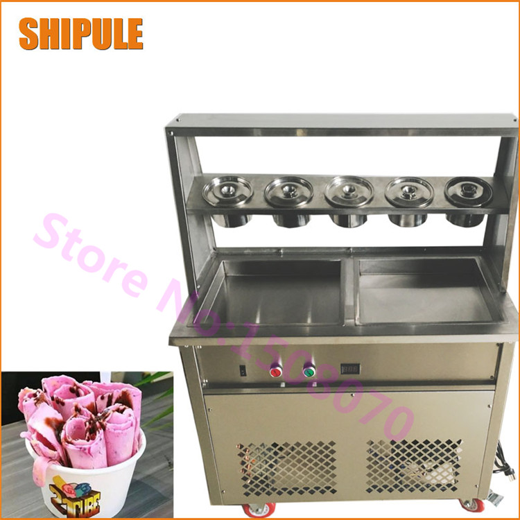 Double square fry ice pan deep 2.5cm machine fried ice cream roll machine ice cream roll maker with 5 cooling buckets 2017 ce approved thai style fried ice cream roll machine single pan fry ice machine fast cooling ice pan machine with dust cover