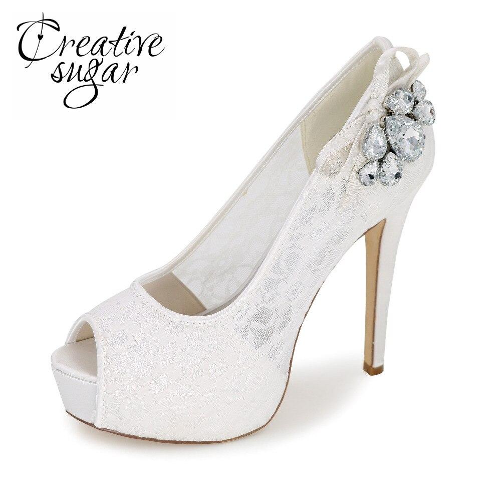 Creativesugar Woman open toe platform high heels see through lace evening dress shoes crystals bridal wedding prom pumps 6 color
