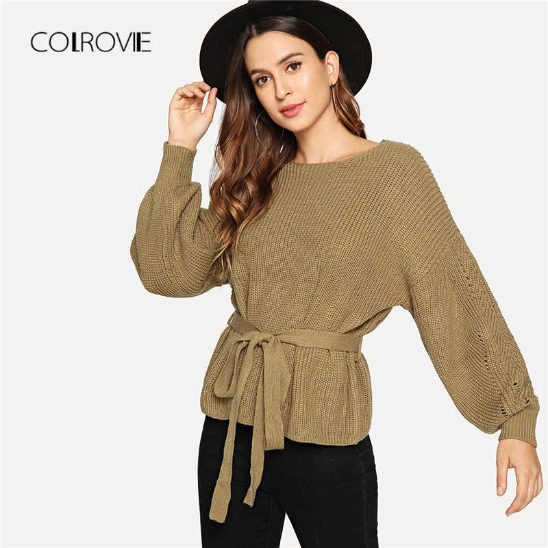 2ae4826942c800 COLROVIE Khaki Belted Bishop Sleeve Knit Sweater Ladies Autumn 2018 Female  Girls Pullover Winter Jumper Sweaters