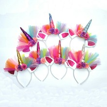 pudcoco Colorful Unicorn Horn Flower Headband Fancy Lovely Kids Girls Party Birthday Magical Gift Cute Babies Hairbands