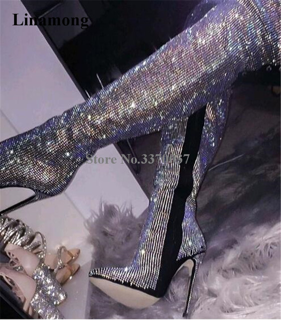 Women Luxurious Rhinestone Pointed Toe Over Knee Thin Heel Boots Bling Bling Crystal Slim  High Heel Long Boots Wedding Shoes