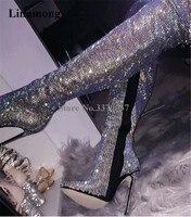 Женские роскошные стразы; ботфорты выше колена с острым носком на тонком каблуке; блестящие высокие сапоги на высоком тонком каблуке с укра