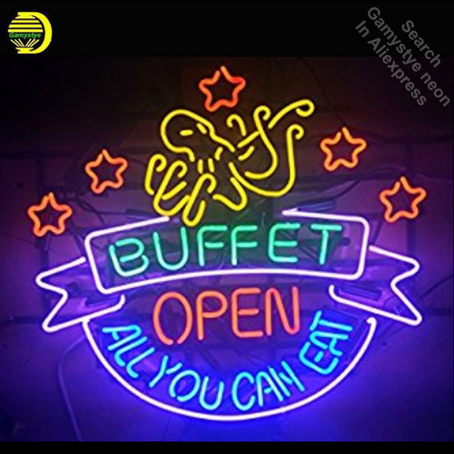 Buffet OPEN Neon Signs Handcrafted Neon Bulb Glass Tube Iconic Sign For Home Display Professional Bulbs Decorative Characteristi