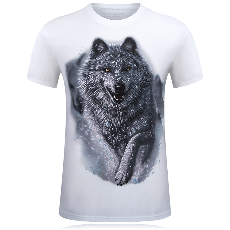 Lelaki T-Shirt Baru Snow Wolf 3D Printed Cotton Swag T-shirt Lucu Unisex istana Tshirt Homme White Brand Clothing camisetas hombre