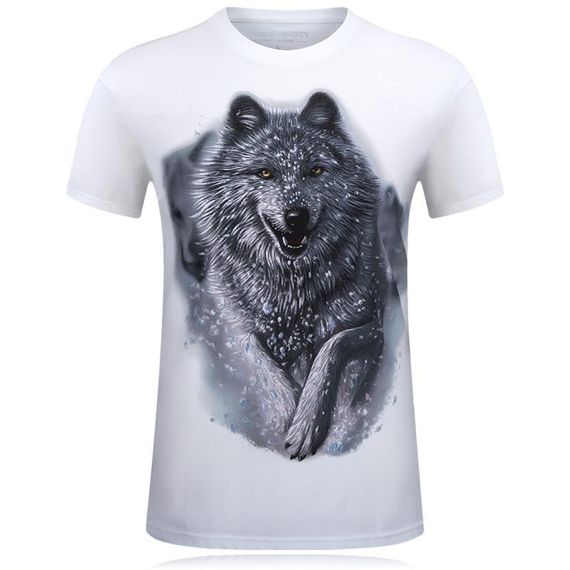 Nueva Camiseta Hombre Snow Wolf 3D Impreso Swag de algodón Camisetas divertidas Unisex palace camiseta Homme Blanco Marca de Ropa camisetas hombre