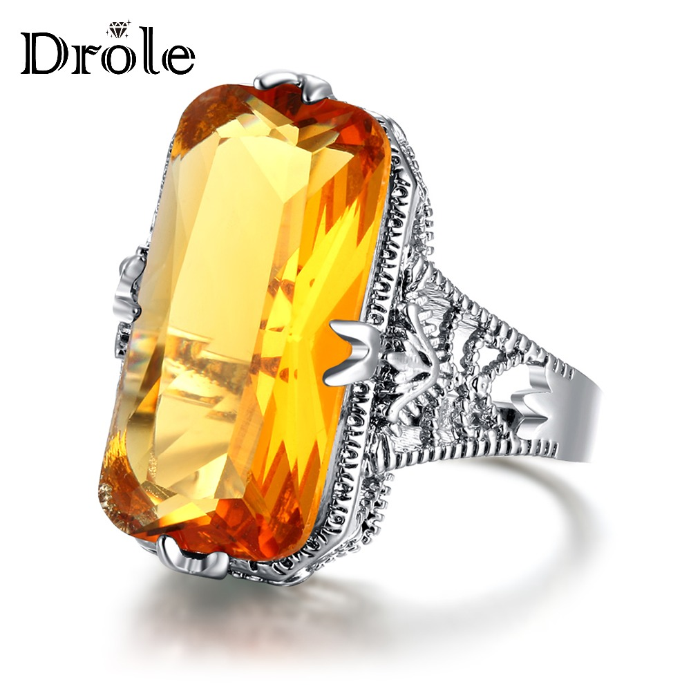 Vintage Rings Stone Silver Christmas-Gift Fashion Jewelry Big Yellow Women New-Arrival