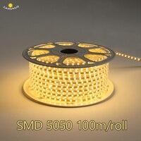 DHL 100 м SMD 5050 AC 220 В Светодиодные ленты гибкий свет 60 светодио дный s/m IP67 Водонепроницаемый светодио дный ленты свет с ЕС Мощность плагин Декор
