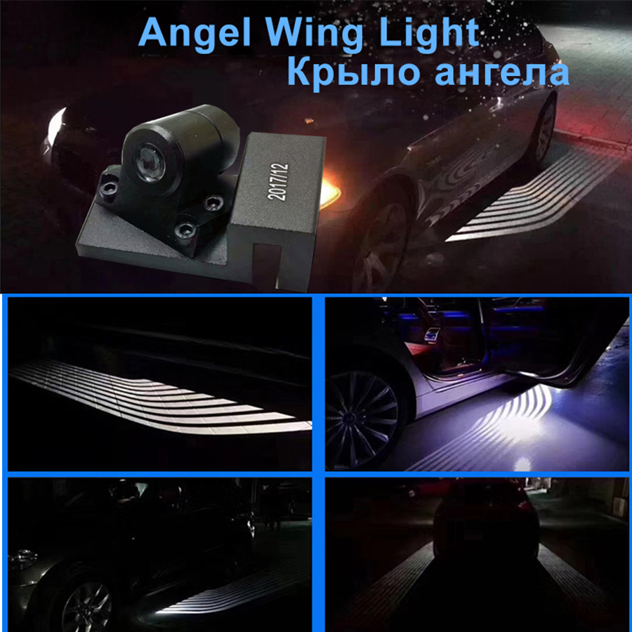 12V 24V White Angle wing Ghost Light Welcome Lamp Car LED Door Warning Light Fit for universal car  Shadow light 2Pcs