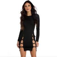 Summer Dress Lace Up Side Split Bodycon Full Sleeve Mini Dress Fashion Vestidos Women Sexy Club