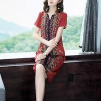 National Wind Printed Loose Slim Temperament Women Silk Dress
