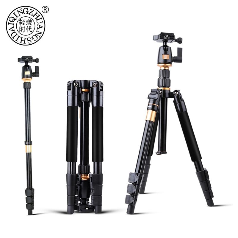 QZSD Q555 trépied de caméra en alliage d'aluminium monopode vidéo trépied extensible professionnel avec plaque de dégagement rapide et tête à billes