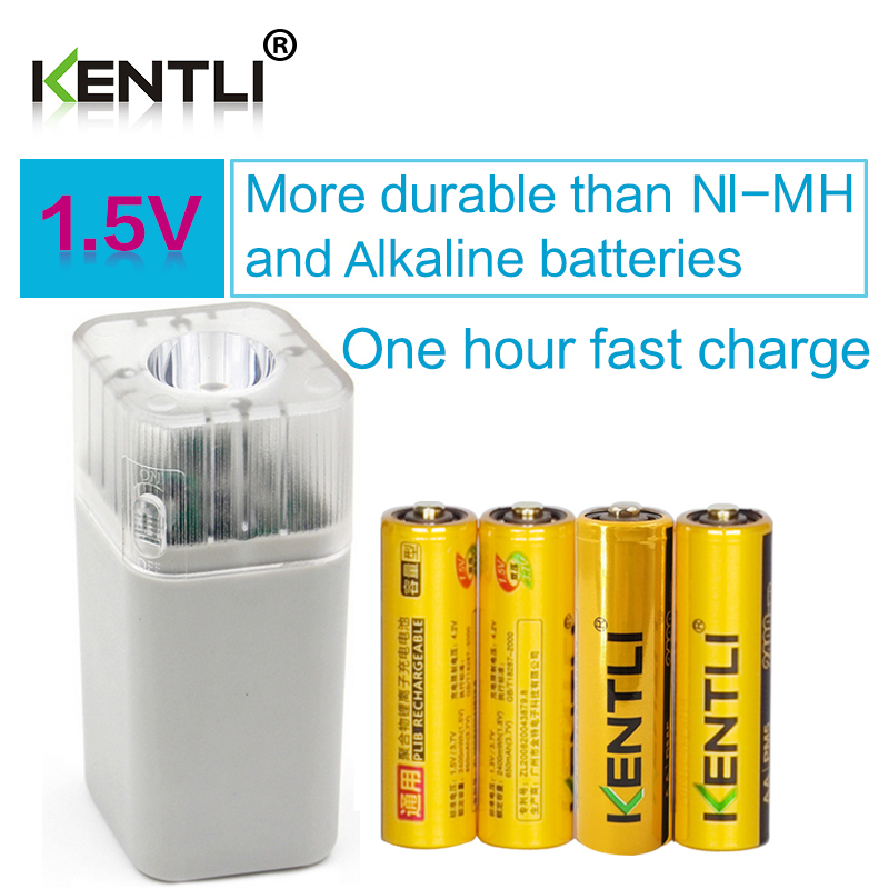 4 pcs KENTLI 1.5v AA 2400mWh polymer lithium li-ion rechargeable battery + 4 channels AA AAA charger with flashlight function lithium li ion rechargeable battery charger 18650 26650 4 2v battery charger flashlight manufacturers wholesale