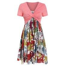 7efa8022b1 2019 vêtement femme moda kobiety vestido letnia sukienka z krótkim rękawem  łuk węzeł bandaż Top słonecznik