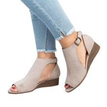 Women Ankle Strap Peep Toe Wedge Sandals Shoes Ladies Sexy