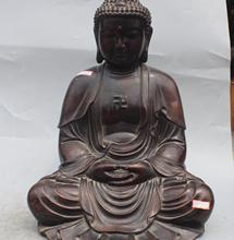 16 «Китайский Тибет Буддизм Фиолетовый Бронзовый Сиденья Шакьямуни Будда Амитабха Статуя