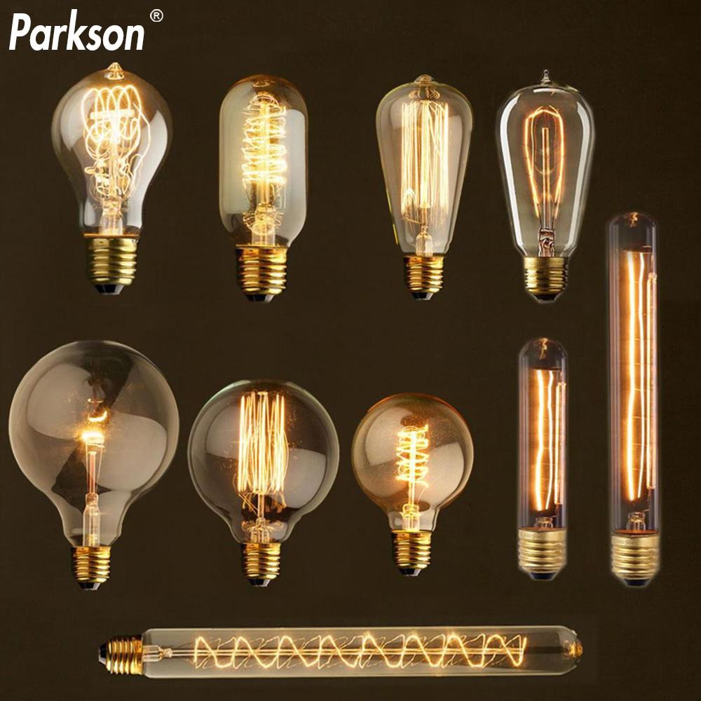 Retro Edison Bulb E27 40W 220V ST64 T10 T45 G80 G95 G125 Ampoule Vintage Edison Lamp Filament Incandescent Light Bulb For Decor