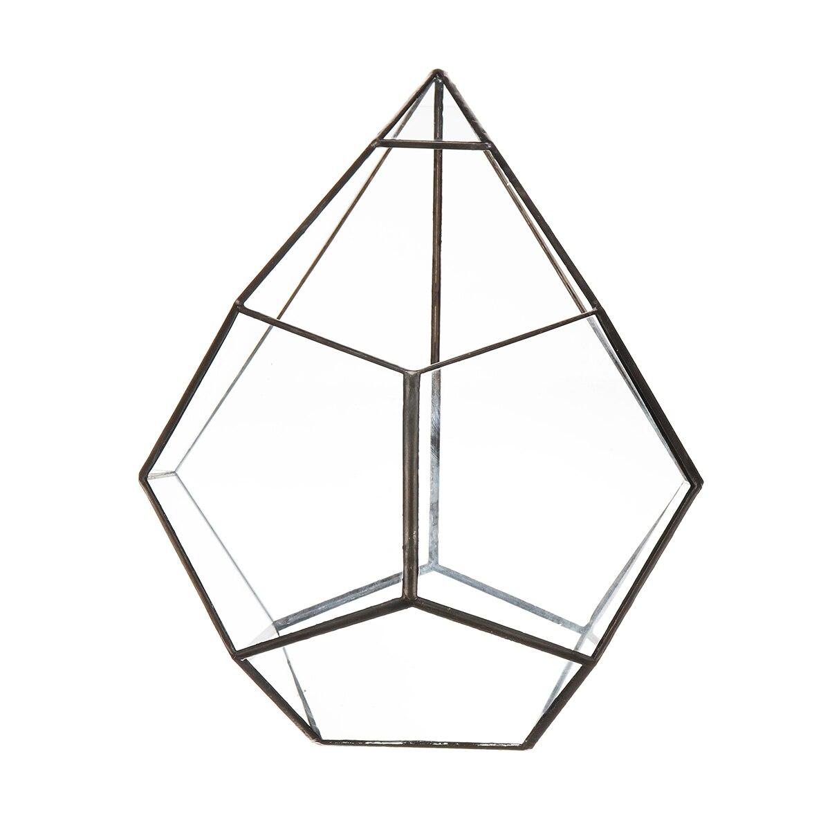 Bonsai Modern Glass Geometric Terrarium Tabletop Succulent Fern Moss Box Case Modern Style Diamond Transparent Glass Flower Pot