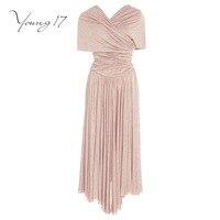 Young17 Maxi Dress Pink V Neck Draped Short Sleeve Women Fashion Elegant Beauty Party Fall Women