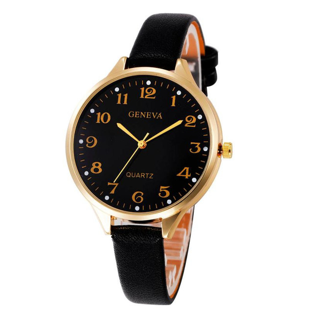 High Quality Women Casual Checkers Faux Leather Quartz Analog Watch Classic