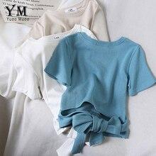 YuooMuoo облегающие топы с бантиком на спине летняя футболка из хлопка для женщин хорошего качества мягкий укороченный топ для фитнеса женские футболки