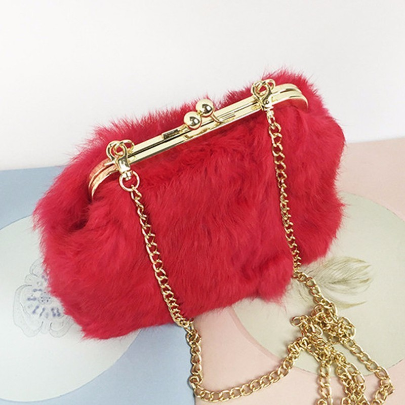 Natural rabbit hair Real Fur Women Shoulder Bag Fox Fur Causal Clutch Bag Women Bag Lady Chains Handbag Wedding Evening Bag