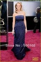 2013 85th Oscar Awards Helen Hunt Navy Blue Sheath Strapless Sweep Train Evening Dresses