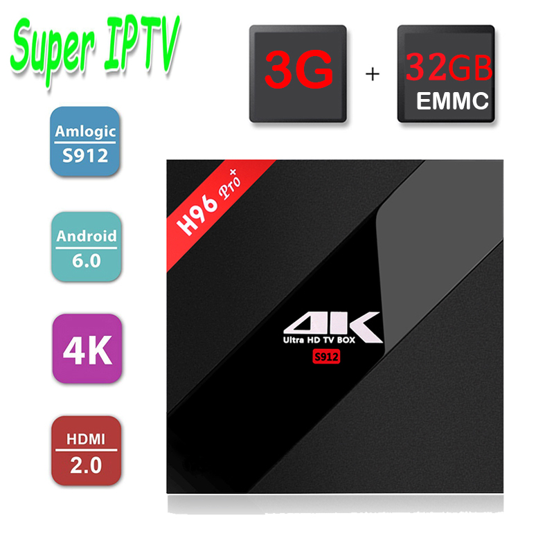 Prix pour Meilleur Italie Portugal Turc IPTV SuperIPTV + H96 Pro + Android 6.0 Smart Tv Box Amlogic S912 Octa core 3G/32G 2.4G/5.8G XBMC 17.0