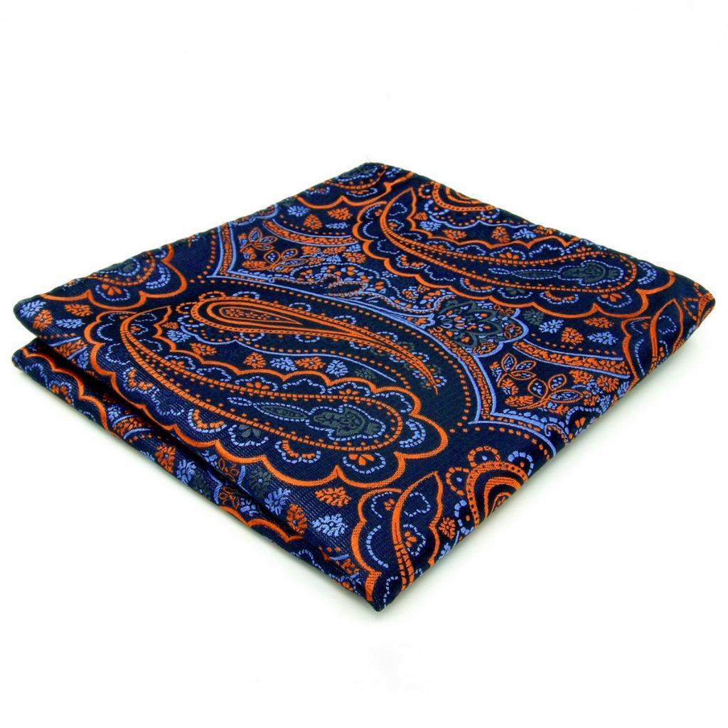 QH08 Blue Paisley Mens Pocket Square Silk Brand New Fashion Hanky Wedding Handkerchief