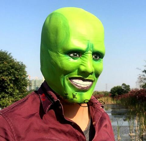 Hot Sale Movie The Mask Jim Carrey Male Mask Mens Fancy Dress Superhero Comic Adults Costume Accessories in stock