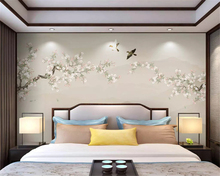 beibehang Customized new Chinese hand-painted flowers and birds ink landscape soft pack silky green papel de parede 3d wallpaper