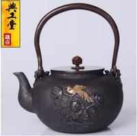 2018 new style 1.2L Iron pot Golden Magpie double butterfly cast iron pot Japanese old iron pot South pig iron kettle teapot