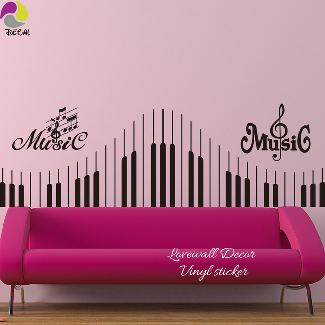 US $8.78 10% di SCONTO|Musica nota autoadesivo della parete pianoforte  tastiera decal, musical rock violino jazz per camera da letto divano  comodino ...