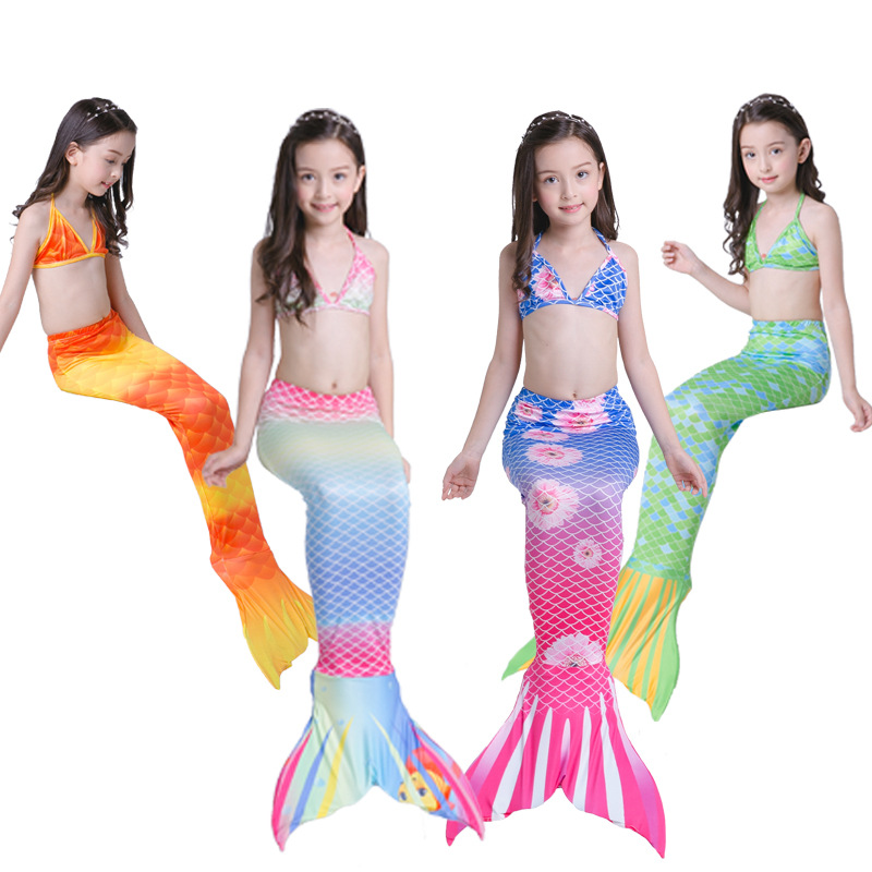 Mother & Kids Yy8529 New Fashion Children Swimwear Mermaid Bikini Swimsuit Three-piece Suit Girl Swimming Mermaid Cosplay Costumes Exquisite Traditional Embroidery Art