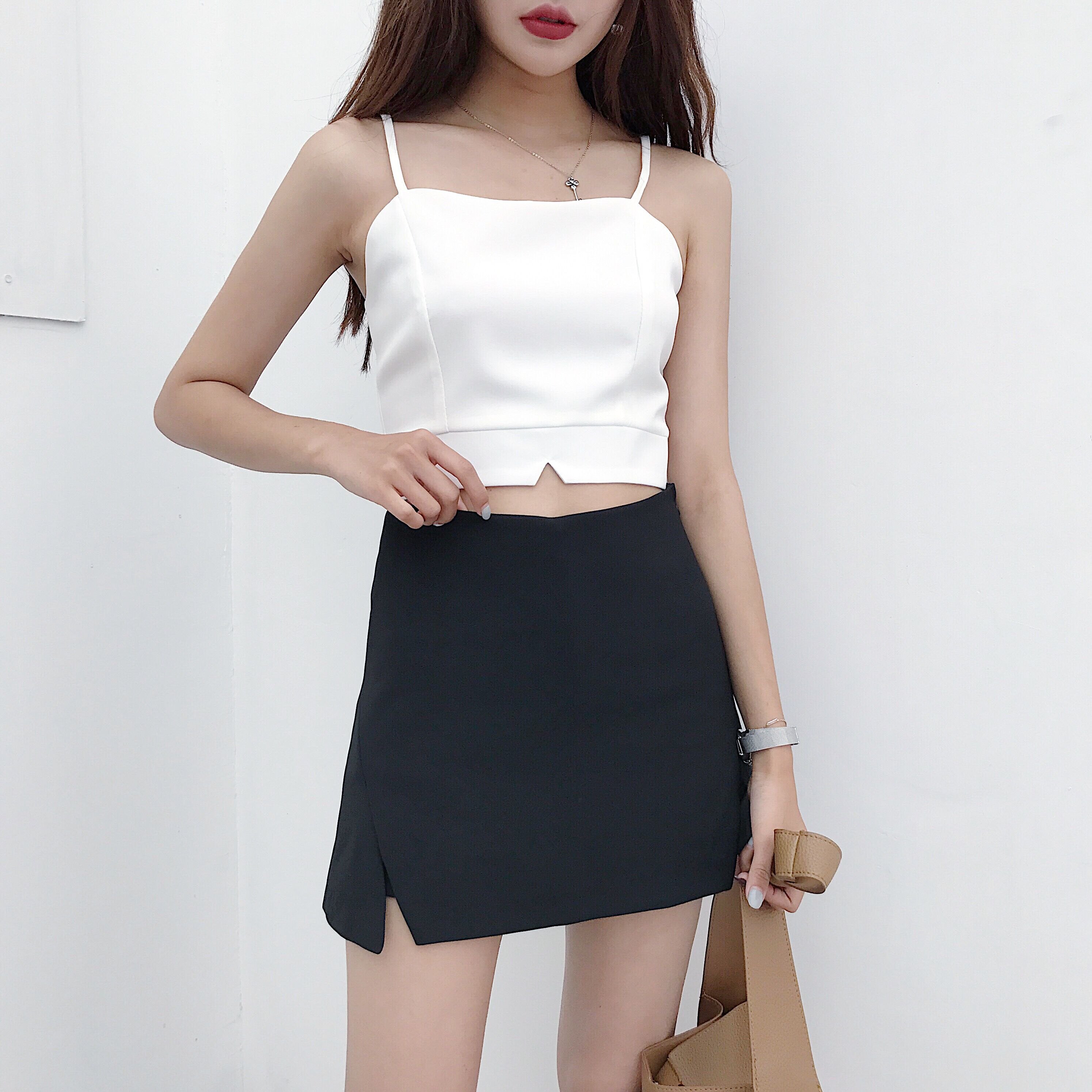 Elegant Gasolid Sexy A-line Skirt Women Bodycon High Waist Black Skirt Femme Summer 2019 White Mini Skirt Office Ol Work Wear