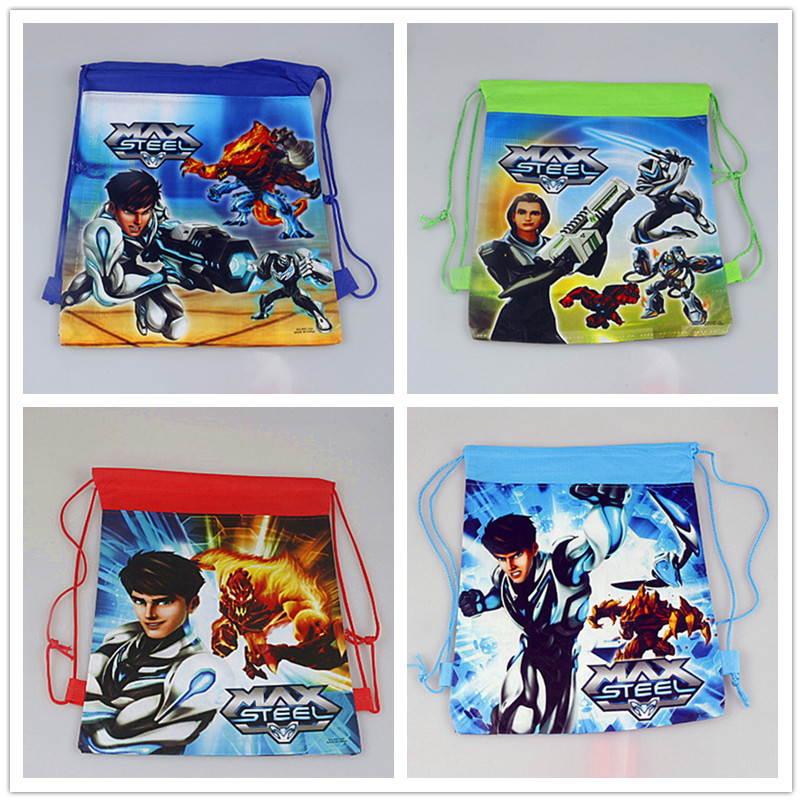 12Pcs Max Steel Cartoon Kids Drawstring Backpack Shopping School Traveling Party Bags Birthday Gifts